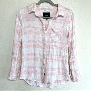 Rails Hunter Plaid Flannel Button Down Pink White